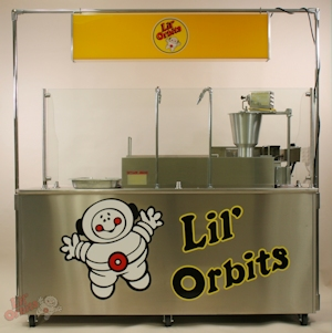 Lil' Orbits F60-12DDF Vendor cart with downdraft filtration and fire suppression system. Indoor ventilation for your mini-donut operation