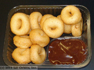 Dippin Donuts tray with a dozen mini donuts and chocolate icing