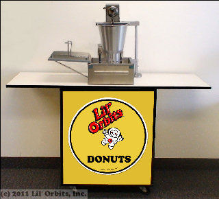 Mini-Express Package featuring Model 800 mini donut machine and CE105 custom cabinet